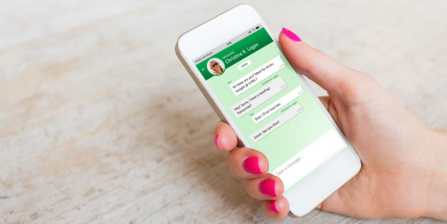 Sample messaging app on smartphone