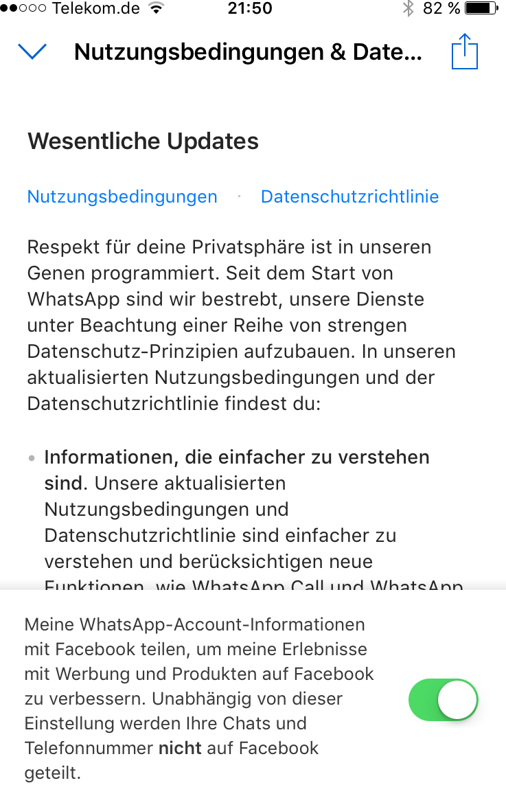 whatsapp zustimmung