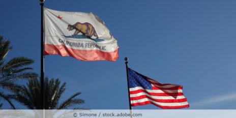 Kalifornische Flagge und amerikanische Flagge vor blauem Himmel